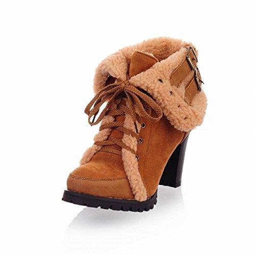 Charm Foot Winter Fashion Mujeres Botas De Nieve De Tacón Alto Amarillo