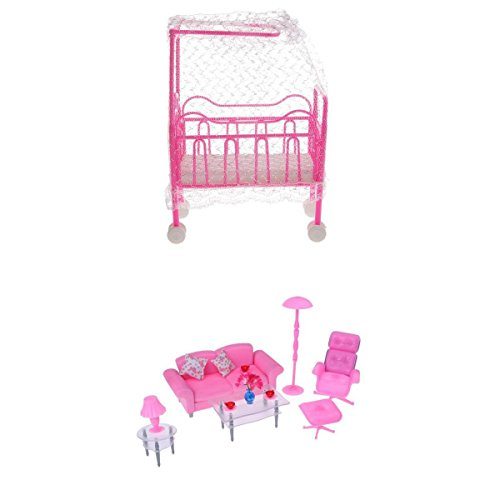 MagiDeal 1/6 Sofa End Table Deck Chair & Cot Bed W/ Bed Net For Barbie Dollhouse