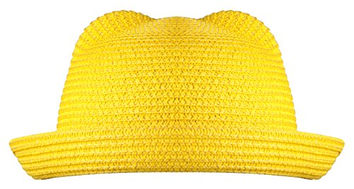 [PZLE cute cat ears bright yellow beach sun caps for baby girls Bright Yellow] (Pork Pie Hat For Sale)