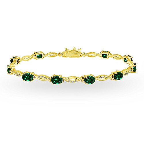 Infinity Emerald Bracelets (Yellow Gold Flashed Sterling Silver Simulated Emerald and White Topaz Oval-Cut Swirl Tennis Bracelet)