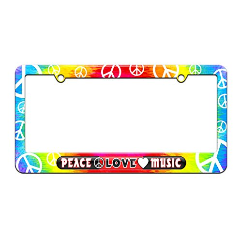 - Peace Love Music - License Plate Tag Frame - Tie Dye Peace Signs Design