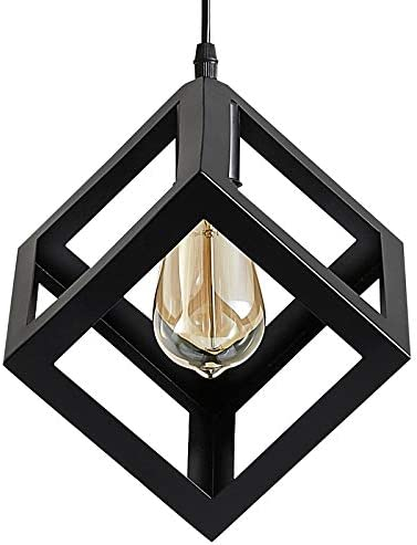ZHU YAN Industrial Light Indoor Wire Cage Farmhouse Square Metal Black Pendant Light, Hanging Pendant Lighting Fixture for Kitchen Island Living Room Dining Room,1 Pack Black