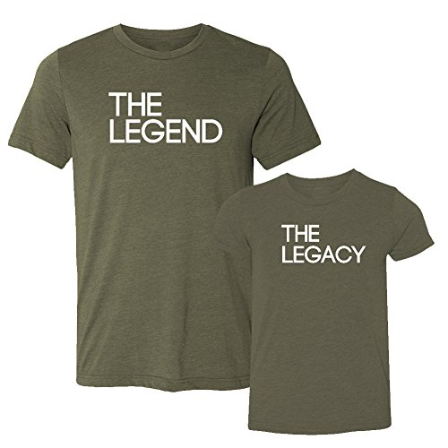 We Match! The Legend & The Legacy - Matching Two Triblend T-Shirts Set (2T T-Shirt, T-Shirt 2XL, Olive, White (Easter Green T-shirt)