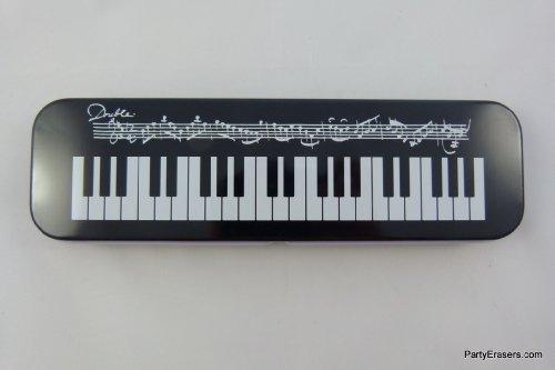 Musique à thème Piano Remarque Tin Case Stationery de crayon PartyErasers