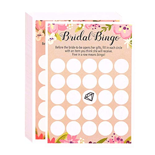 Floral Bridal Shower Games - Bingo, 50 Sheet Rustic Wedding Game Cards, Party Supplies for Bachelorette Party and Wedding, 50 Vintage Cards Included, 5 x 7 Inches, -