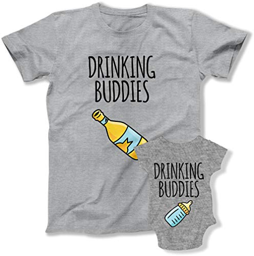 Drinking Buddies Matching Father and Son Tshirt Gift Matching Family Pajamas Shirts TEP-1921-1928 (Mens - Large, Baby - 3M)
