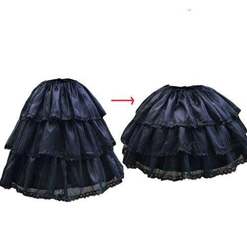 HappyStory Long-Short Dress Pannier Hoop Skirt Underskirt Petticoat Lolita Dress (Black) ()
