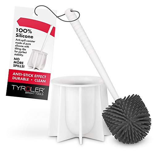 Tyroler Bright Tools Toilet Brush Set Made of 100% Silicone, Anti-Stick Effect Bristle Toilet Bowl Brush and Holder Fit All Toilets & Bathrooms (White)