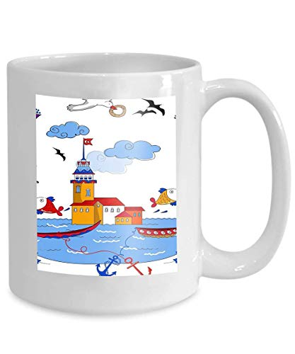mug coffee tea cup maiden s tower cartoon beautiful design designs 110z ()
