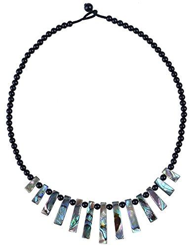 MagicYiMu Natural Abalone Shell Black Choker Bib Agate Beaded Strand Necklace Jewelry for Women, 16