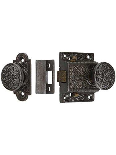 Antique Wood Doors - House of Antique Hardware R-06SE-2022033-AI Decorative Cast Iron Screen Door Latch Set in Antique Iron