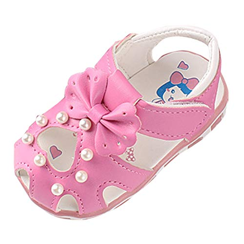 Baby Girls Boys Sandals Infant Toddler Moccsin with Soft Sole Anti-Slip Hollow Pearl First Walkers Shoes (Recommended Age:3-6Months, Hot Pink)