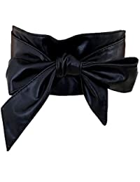 Generic Women's PU Leather Solid Bow Lace up Wide Waist Band Belt PDW0014 (black)