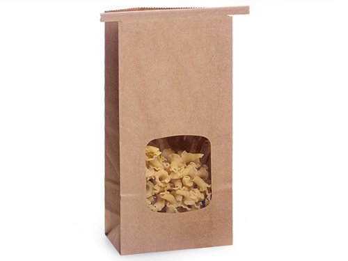 Kraft 1/2 Lb. Tin Tie Bakery Bag w/ Square Window - by Premium Tin Ties ()