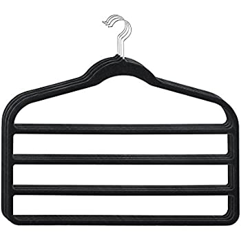 HOUSE DAY Pack of 4pcs Black 4 Tier Hanger Velvet Scarf Clothes Hangers for  Multiple Pants