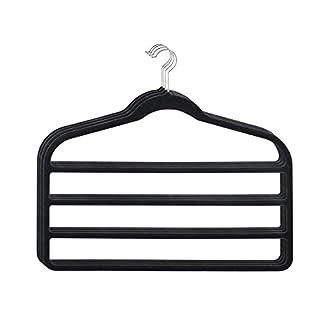 HOUSE DAY Pack of 4pcs Black 4 Tier Hanger Velvet Scarf Clothes Hangers for Multiple Pants Hangers Organizer
