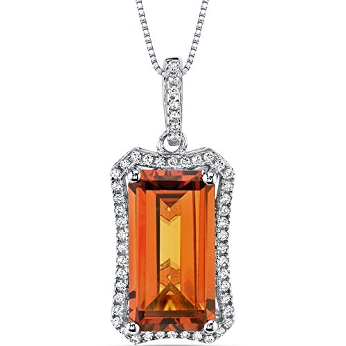 - 7.00 Carats Created Padparadscha Sapphire Pendant Sterling Silver Octagon Cut