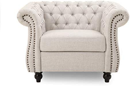 Leila Chesterfield Fabric Club Chair