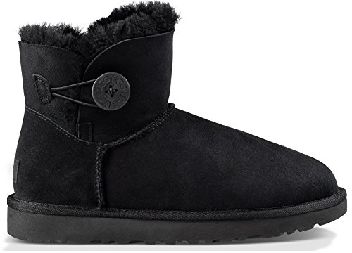 UGG Women's Mini Bailey Button II Winter Boot, Black, 9 B US