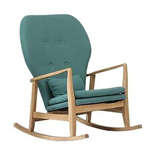 Ouqian-Home Sedia a Dondolo Sedia a Dondolo Casuale Semplice Soggiorno Balcone Mobili White Oak Rocking Chair Facile da… 1 spesavip