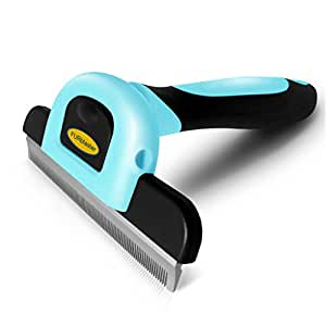 DakPets Deshedding Brush-Dog Hair & Cat Hair Shedding Tool with Stainless Steel Trimming Blade-Effective Grooming Tool for Cats Dogs with Short Medium Long Fur, and Reduces Pet Hair Shed By Up to 95%