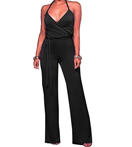 Tuesdays2 Womens Jumpsuits Elegant Button Long Leg Jumpsuits Romper  S  Black 2