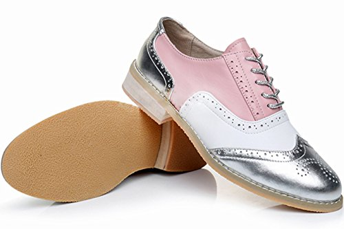 LaRosa Women's Classical Leather Wing-up Brogues Flat Lace-up Oxford Shoes Pink White Silver popular shop sale online clearance find great huge surprise DeYxe