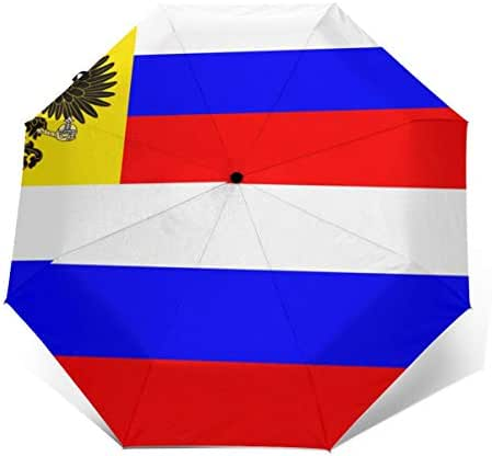 EryhunGauun Russian Flag Travel Umbrella - Compact Parasol Umbrella - Windproof and Sunscreen Double Canopy Construction - Auto Open and Close Button
