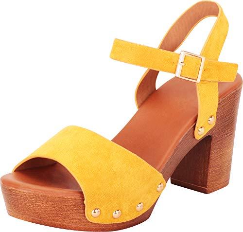 (Cambridge Select Women's Retro 70s Open Toe Studded Chunky Platform Block Heel Sandal,8.5 B(M) US,Yellow IMSU)