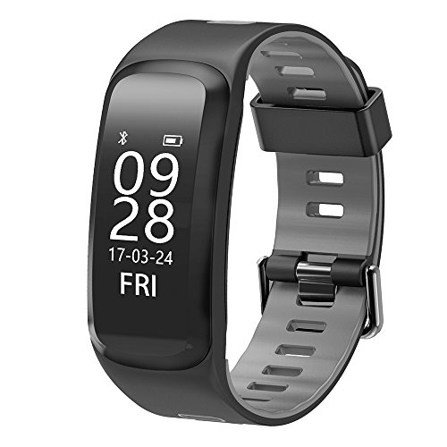 Auntwhale IP68 Waterproof Smart Watch Band Android,IOS,Information Push,Blood Pressure Heart Rate Blood Oxygen Monitoring, Pedometer, Calories, Sleep Monitoring - Gray by Auntwhale