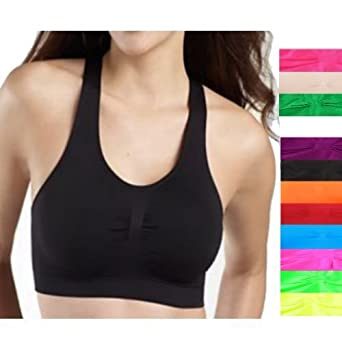 b54d4acf215 Brown - Seamless Racerback Sports Bra Exercise Yoga Fitness Top Non-Padded  Bra: Amazon.co.uk: Clothing