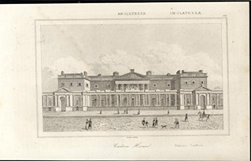 Carlton House Home Prince Regent London England 1844 antique engraved print