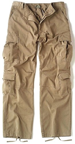 Bellawjace Clothing Vintage Khaki Army USMC Paratrooper Pants Tactical Military BDU Fatigue