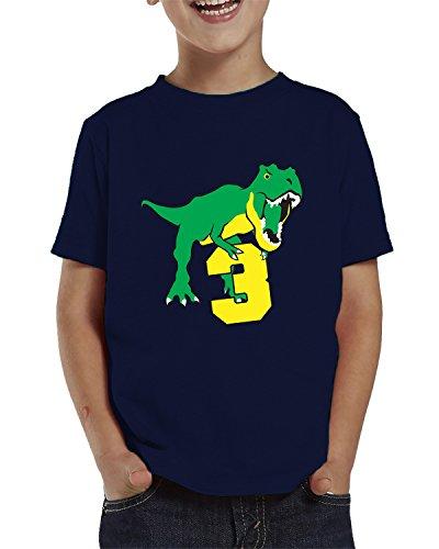 SpiritForged Apparel Dinosaur 3 Year Old Toddler T-Shirt, Navy 3T ()