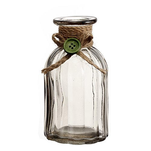 V-More Rustic Light Grey Flower Bud Vase with Jute Rope and Green Button Glass Bottle with Ribbed Design 5.5-inch Tall for Home Decor Party and Celebration (Set of 3)
