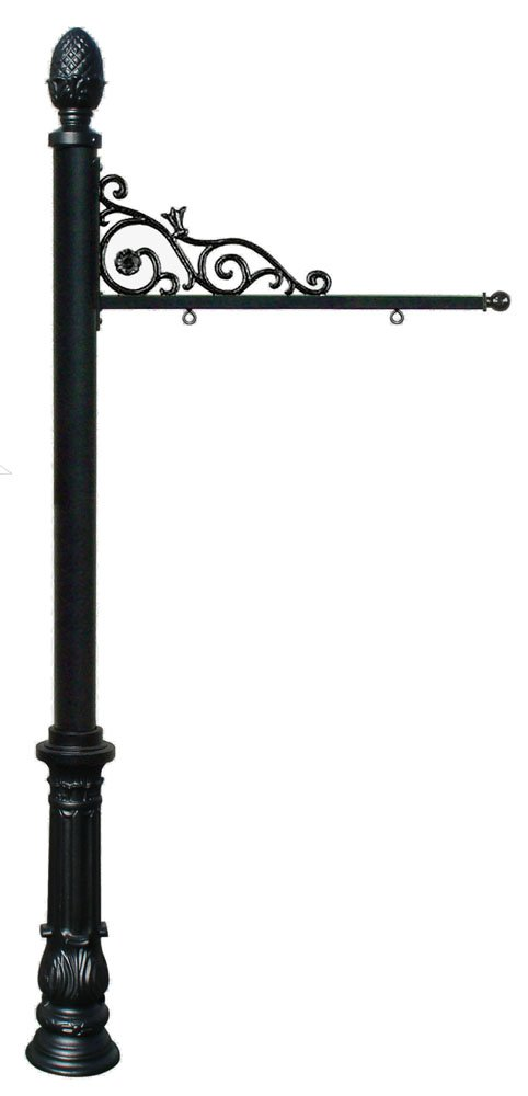 Prestige Powder Coated Aluminum Real Estate and Yard Sign, Ornate Base and Pineapple Finial in Black, Ships in 2 boxes