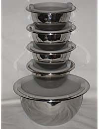 Purchase 10 Piece Set - Wolfgang Pucks Cafe Collection Stainless Steel Mixing Bowls w/ Plastic Lids compare