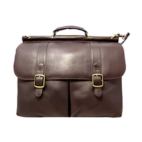 David King Leather Dowel Laptop Briefcase in Cafe (King Leather Distressed David)