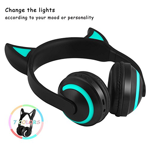 Kids Wireless Bluetooth Headphone 7 Colors LED Light Flashing Glowing Devil Ear Cosplay On-Ear Stereo Headset with Mic Compatible with Smartphones PC Tablet by Luckyu (Image #4)