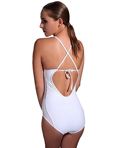 azyuan de las mujeres Rhinestone delgado triángulo traje de baño de una pieza blanco