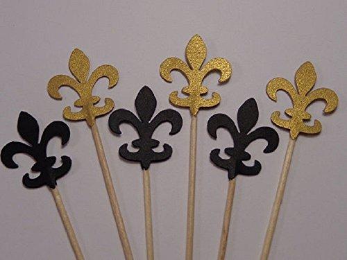 Gold Shimmer and Black Fleur De Lis Cupcake Toppers - Party Picks - Food Picks (Set of 24)