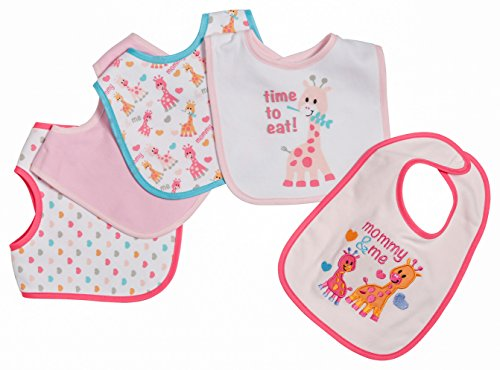 Little Beginnings 5 Piece Baby Bibs for Girls, Mommy and Me, Pink