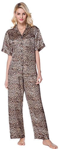 SunRise Women's Short Sleeve Classtic Satin Pajama Set (X-Large, Leopard) (Leopard Ladies)
