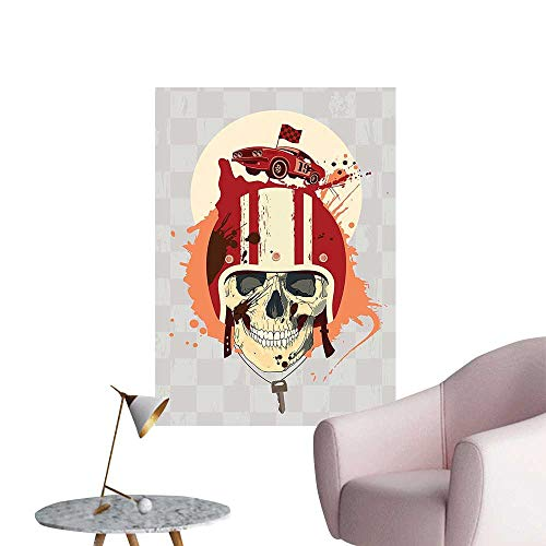 Wall Stickers for Living Room Racing Driver Skull with Helmet Dead Competitor Retro Horror Style Graphic Art Print Vinyl Wall Stickers Print,12