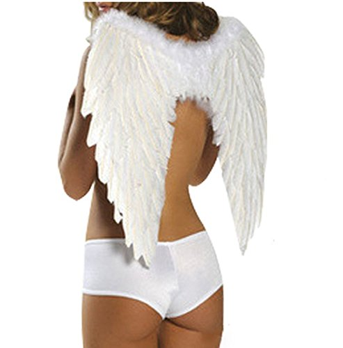 ROLECOS Womens Halloween Costume Party Cosplay Angel Wings White (Angel Wings Halloween)
