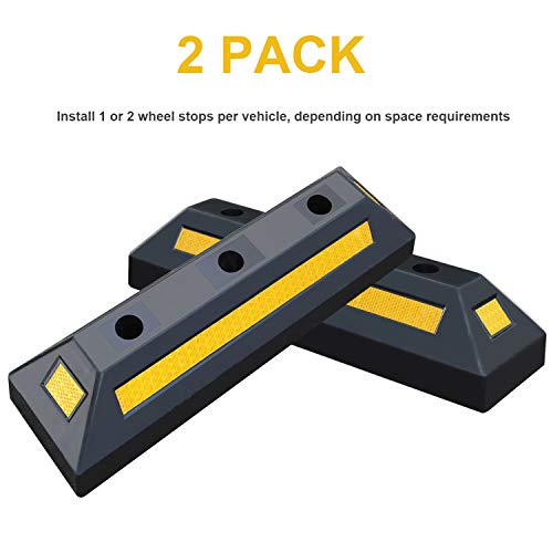 2 Pack Heavy Duty Rubber Parking Blocks Wheel Stop for Car Garage Parks Wheel Stop Stoppers Professional Grade Parking Rubber Block Curb w/Yellow Refective Stripes for Truck RV, Trailer 21.25''(L) by Reliancer (Image #1)