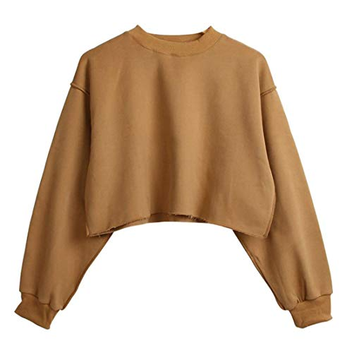 Brown Sweatshirts Color Tees JSYAU Tops Pullover Long Womens Fashion Casual Pure Sleeve Cropped w17APpq