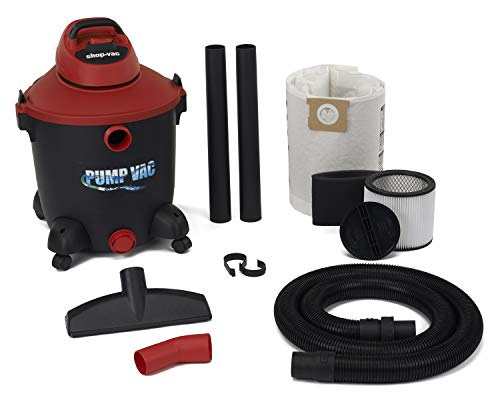 Shop Vac 5821200 12 Gal 5.0 PHP Wet Dry Vacuum with built in Pump will pump out with garden hose. Uses Type U Cartridge, Type R Foam plus Type F Filter Bag from Shop-Vac