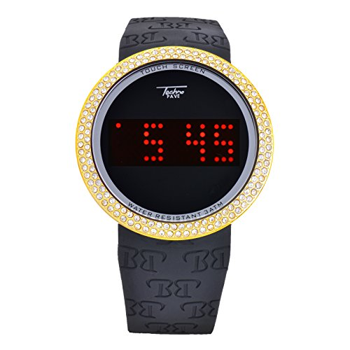 (Techno Pave Iced Out Bling Lab Diamond Gold Black Digital Touch Screen Sports Smart Watch Silicone)