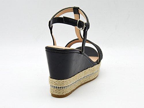 Pieds Plateforme Nu Femme Et Strass Sandales Shop SHT16 Semelle Noir Oh My Avec Espadrilles Mode Compensée Brides Style IqaBPwxXnz